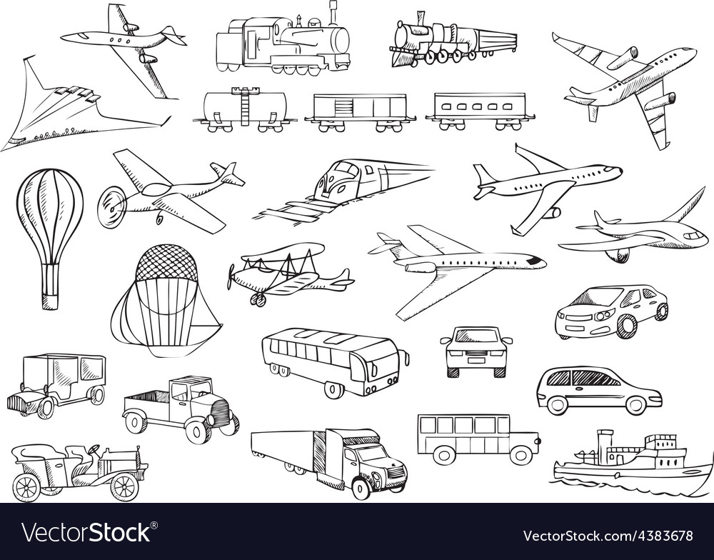 Transportation over the world set vector | Price: 1 Credit (USD $1)