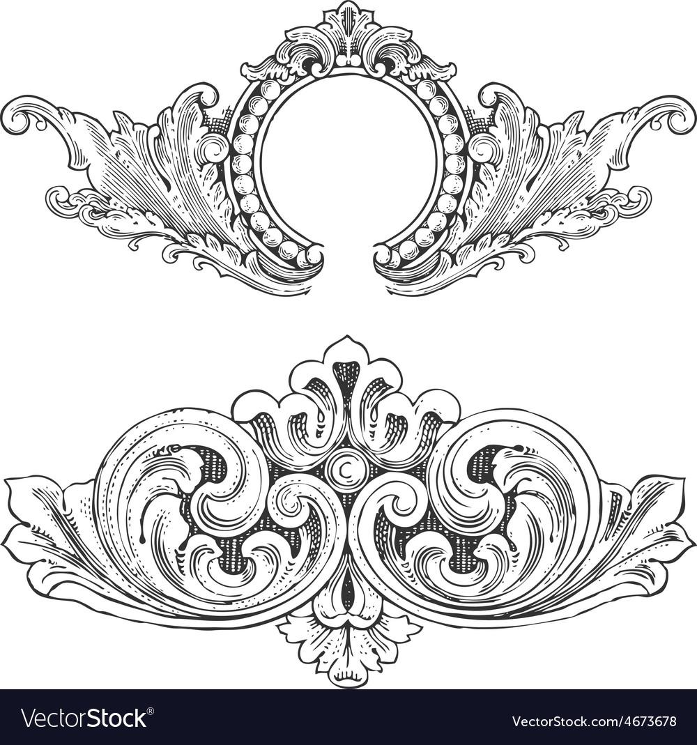 Vintage floral wood print decorative elements vector   Price: 1 Credit (USD $1)