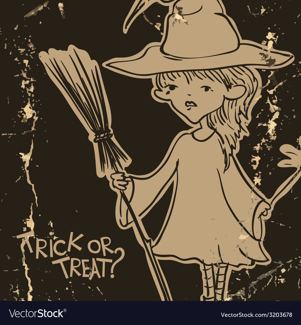 Witch girl with bat and broom vector | Price: 1 Credit (USD $1)