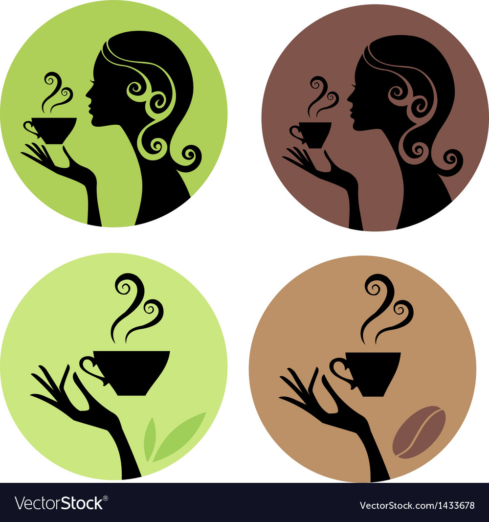 Woman drinking coffee and tea vector | Price: 1 Credit (USD $1)