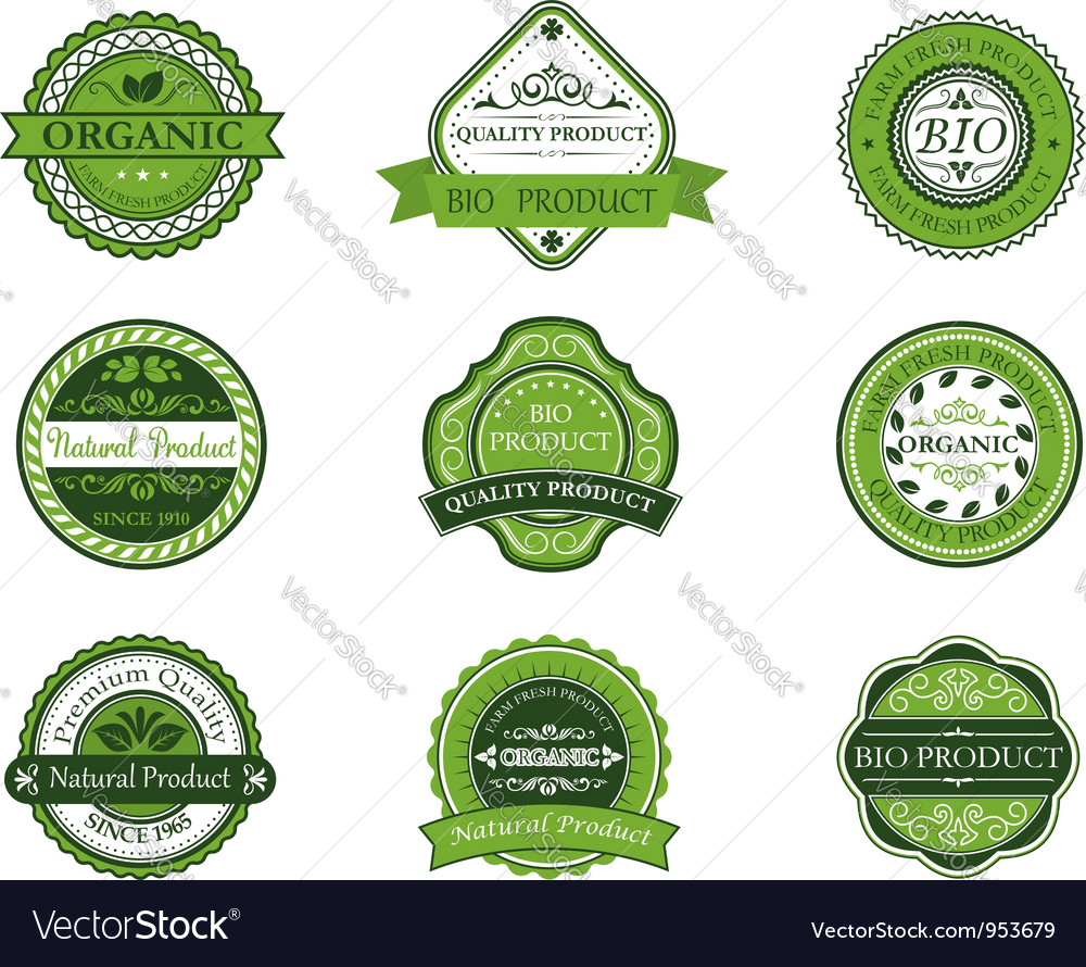 Bio and ecological labels set vector   Price: 1 Credit (USD $1)