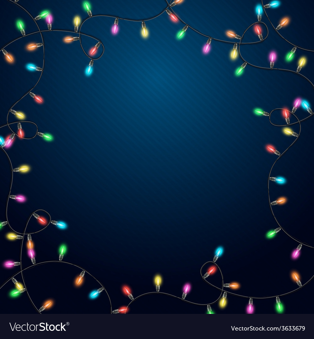 Blue background with realistic garland vector | Price: 1 Credit (USD $1)