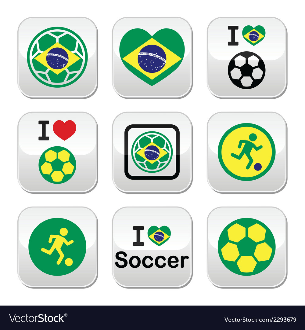 Brazilian flag football or soccer ball buttons se vector | Price: 1 Credit (USD $1)