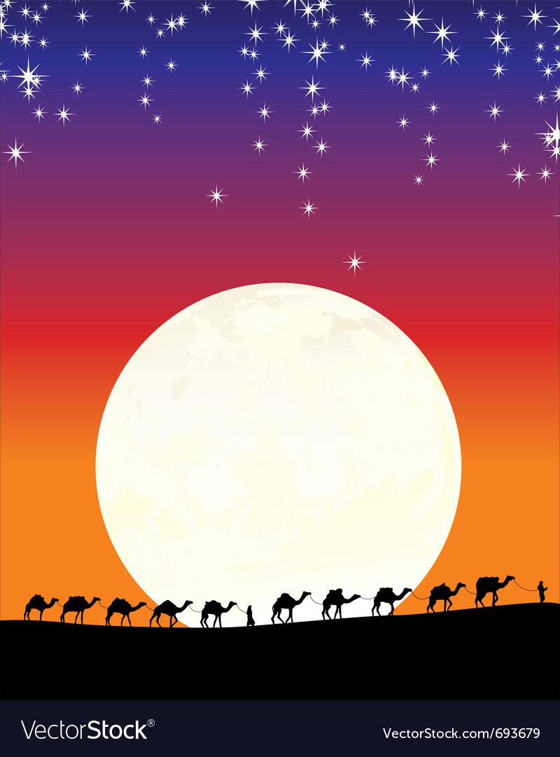 Caravan of camels vector | Price: 1 Credit (USD $1)