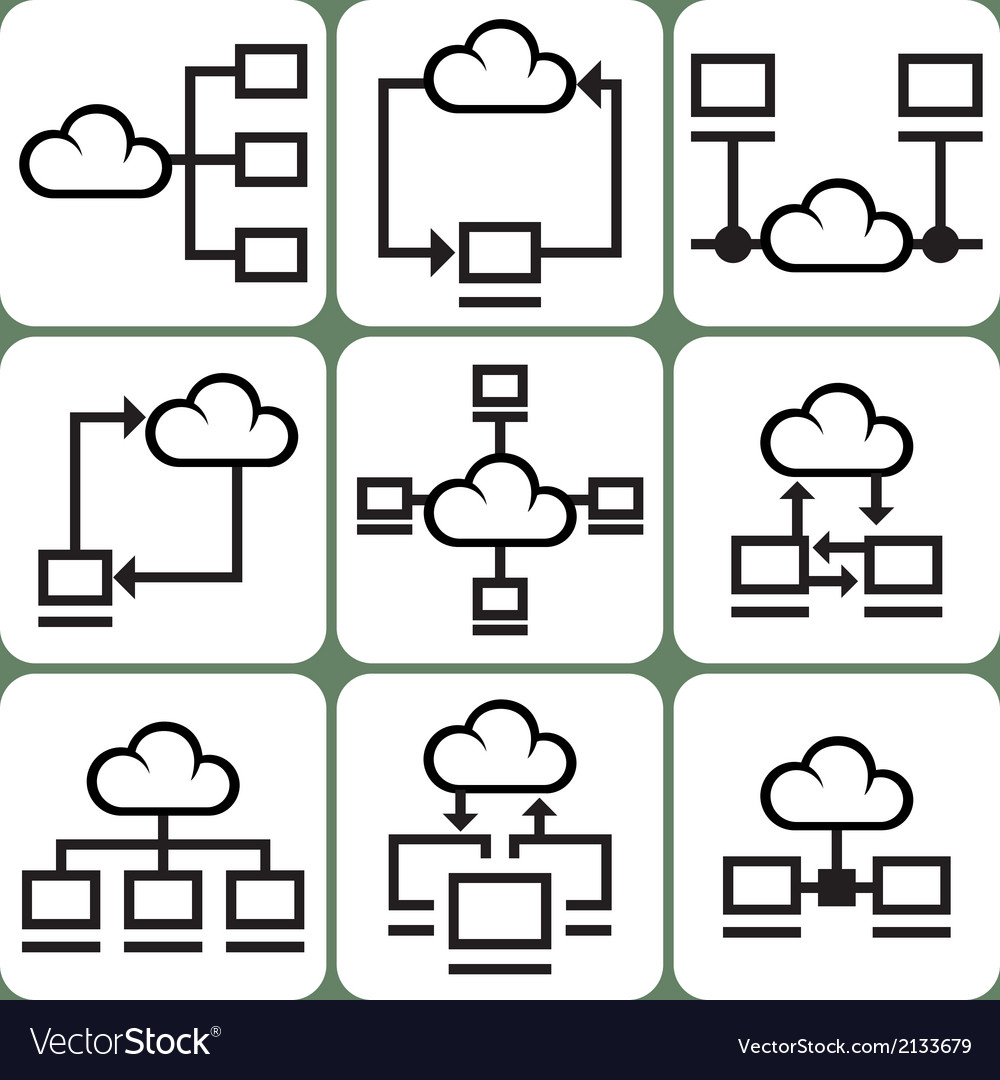 Cloud storage icons set vector | Price: 1 Credit (USD $1)