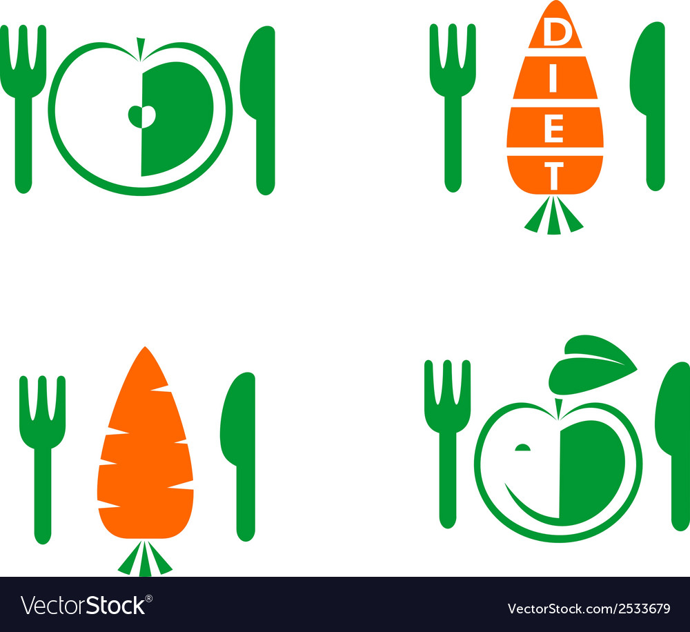 Diet icons on white background vector   Price: 1 Credit (USD $1)