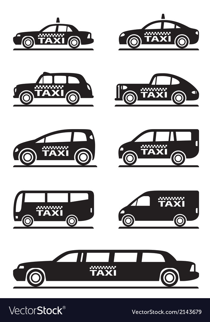 Different types of taxi cars vector | Price: 1 Credit (USD $1)