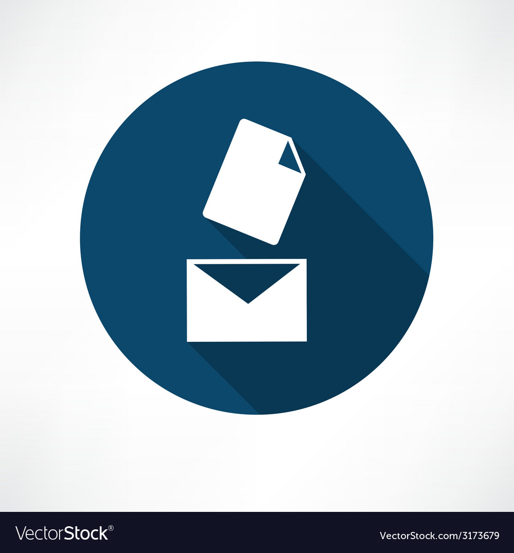 Mail with the document icon vector | Price: 1 Credit (USD $1)