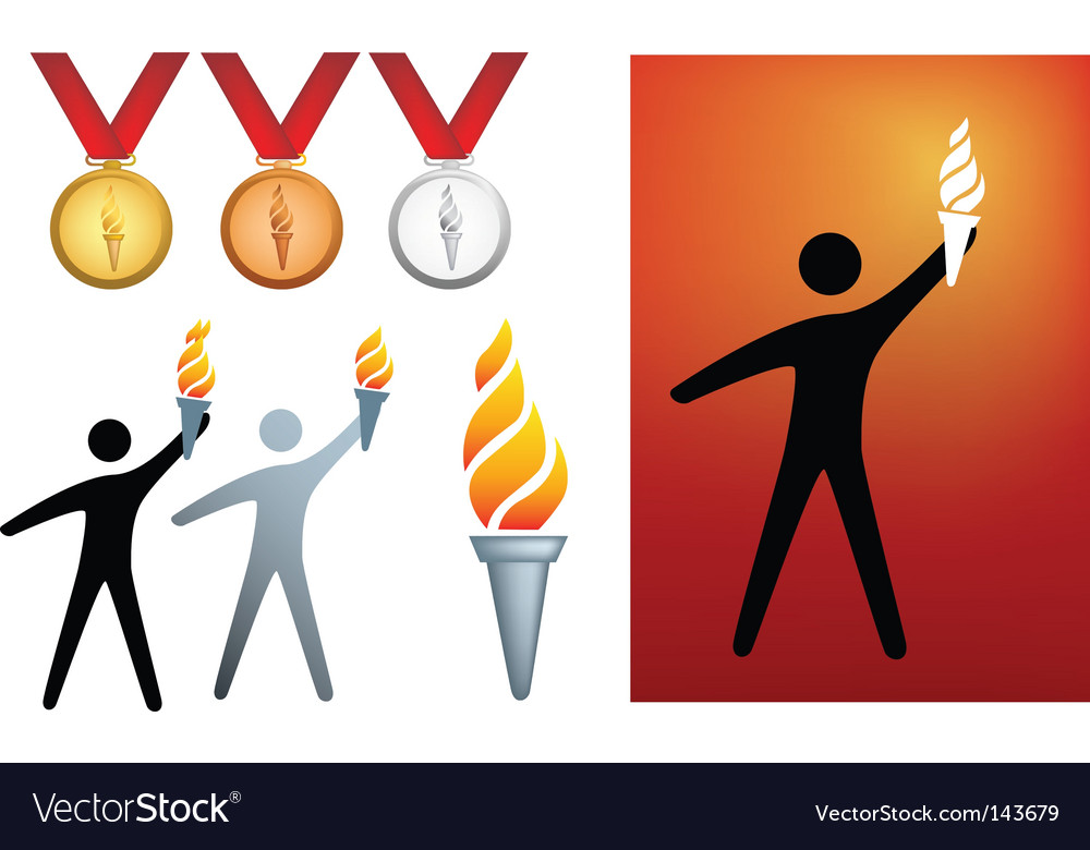 Olympic flame icons vector | Price: 1 Credit (USD $1)
