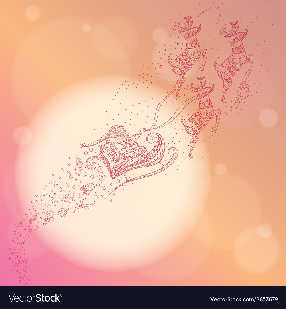 Ornate of santa flying through the sky vector | Price: 1 Credit (USD $1)