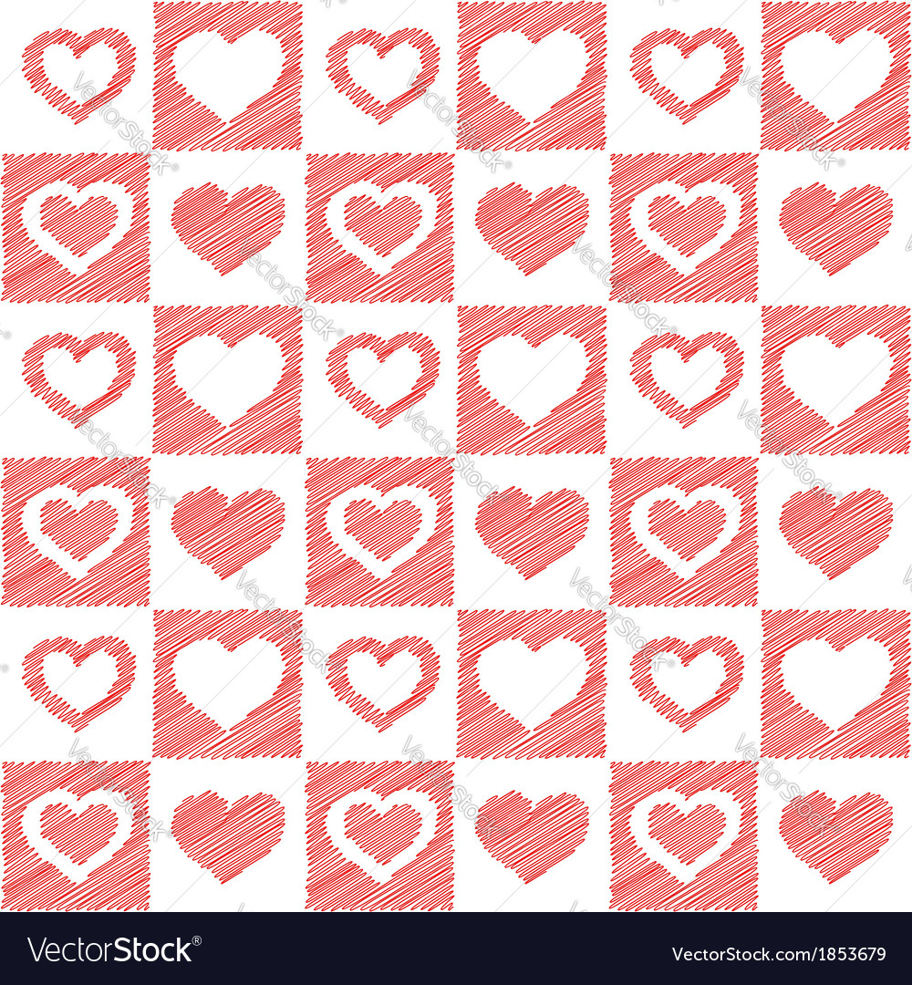 Seamless red hearts sketch vector | Price: 1 Credit (USD $1)
