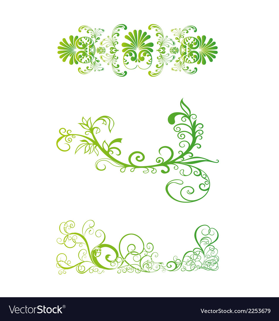 Set of green floral vector | Price: 1 Credit (USD $1)