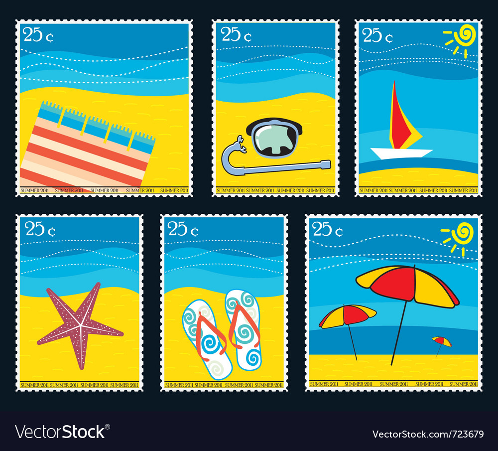 Summer postage stamps vector | Price: 1 Credit (USD $1)