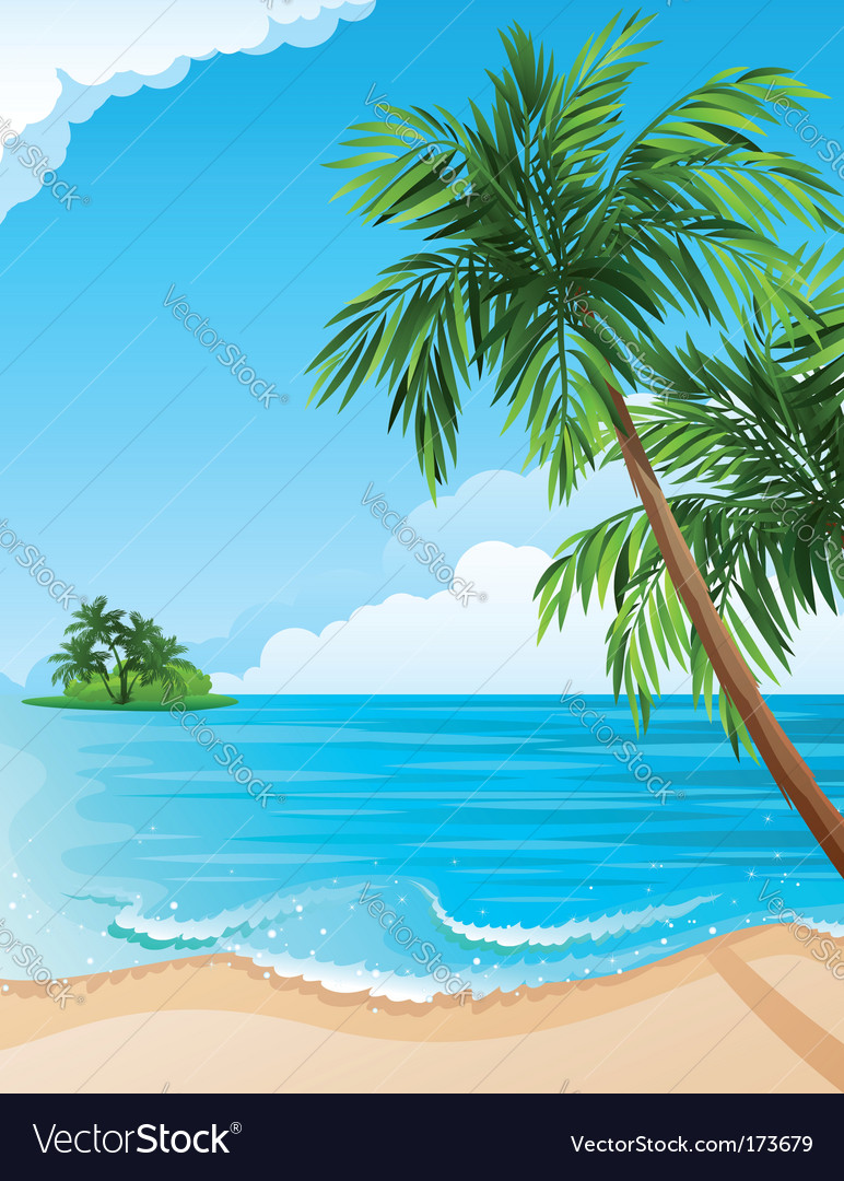 Tropical landscape vector | Price: 3 Credit (USD $3)