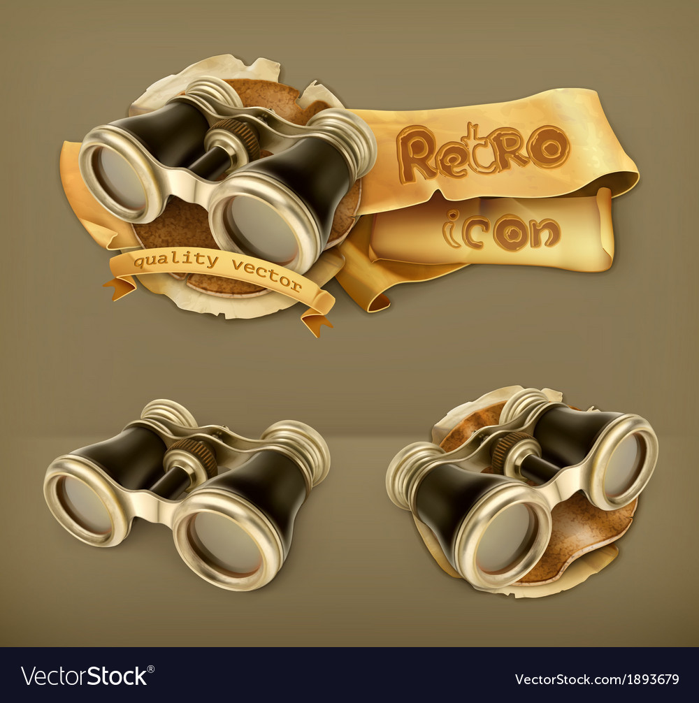Vintage binoculars icon vector | Price: 1 Credit (USD $1)