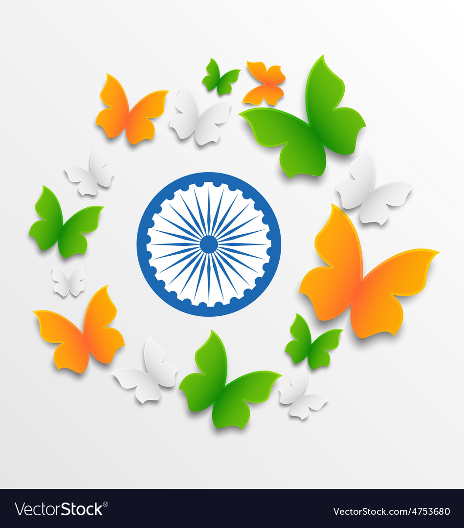 Butterflies in traditional tricolor of indian flag vector | Price: 1 Credit (USD $1)