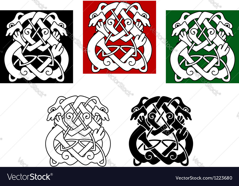 Celtic dogs and wolves vector | Price: 1 Credit (USD $1)