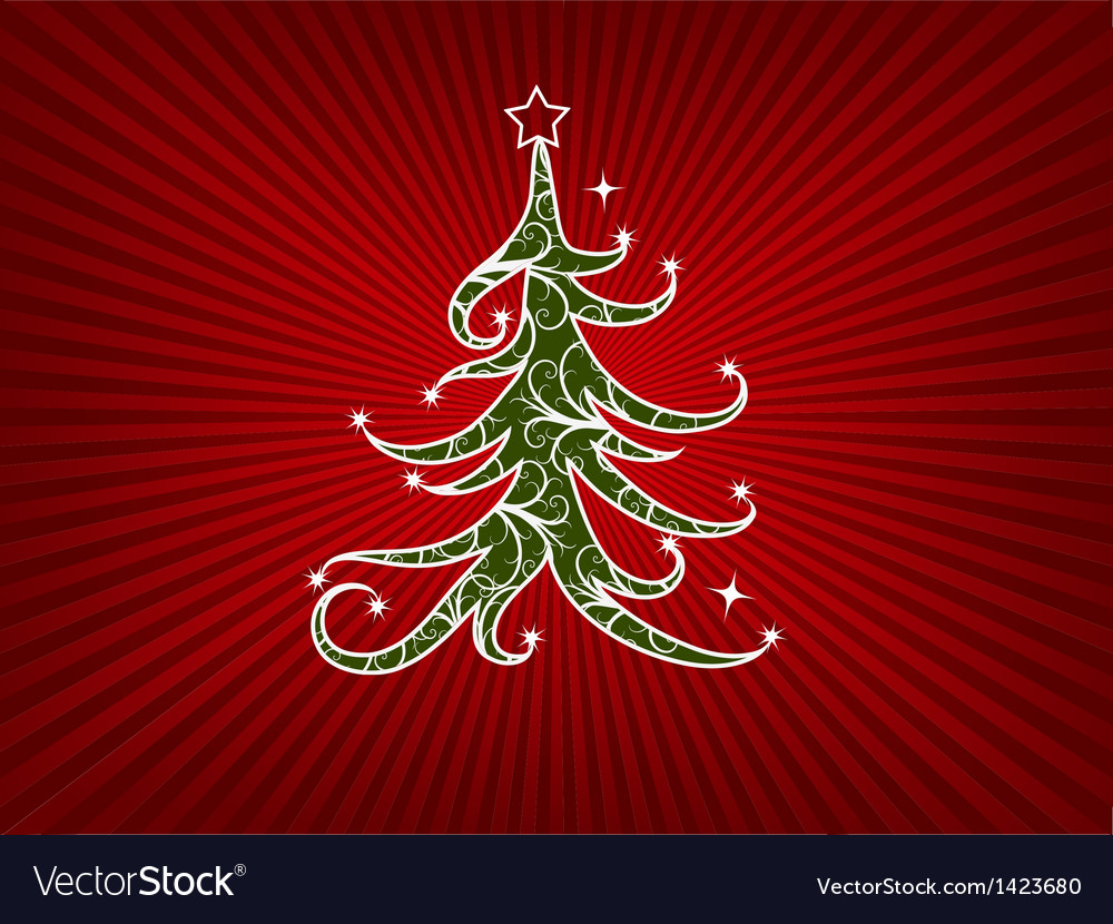 Christmas tree on a red stripes background vector | Price: 1 Credit (USD $1)