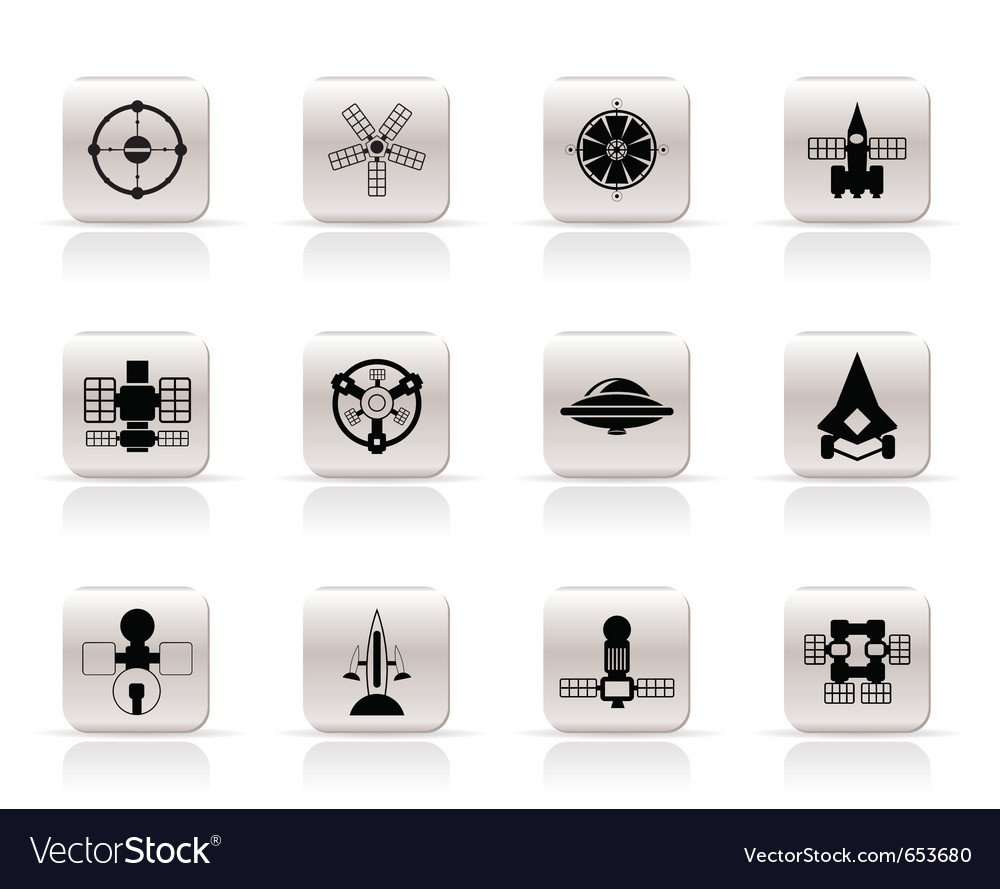 Different kinds of future spacecraft icons vector | Price: 1 Credit (USD $1)
