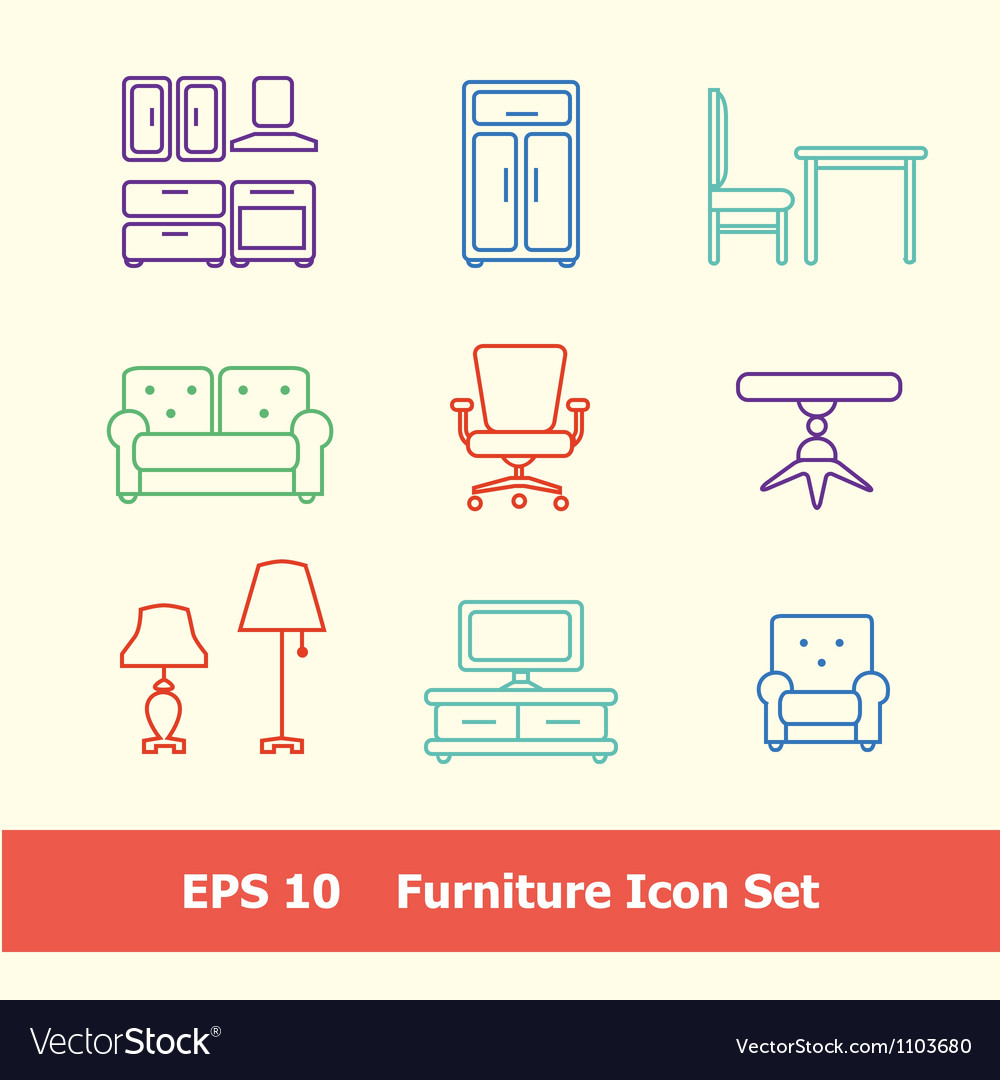 Furniture icon set vector | Price: 1 Credit (USD $1)