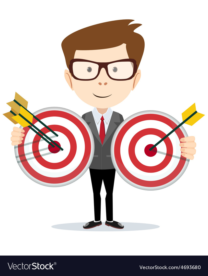 Man holding a target with arrow vector | Price: 1 Credit (USD $1)
