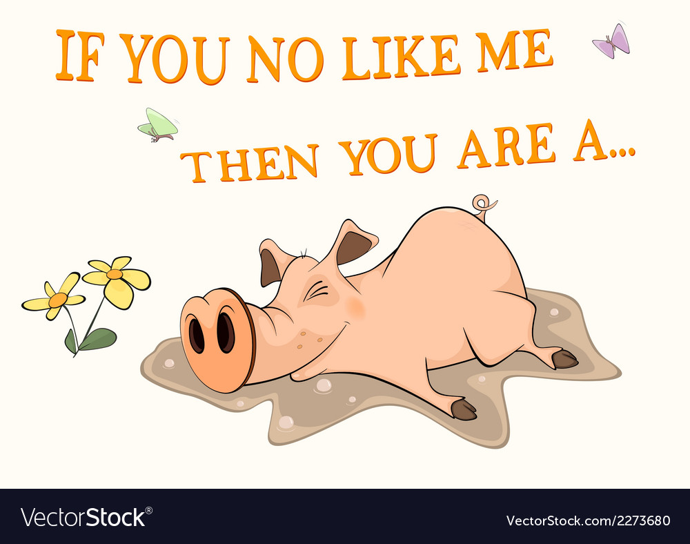 Pig and a pool postcard cartoon vector | Price: 1 Credit (USD $1)