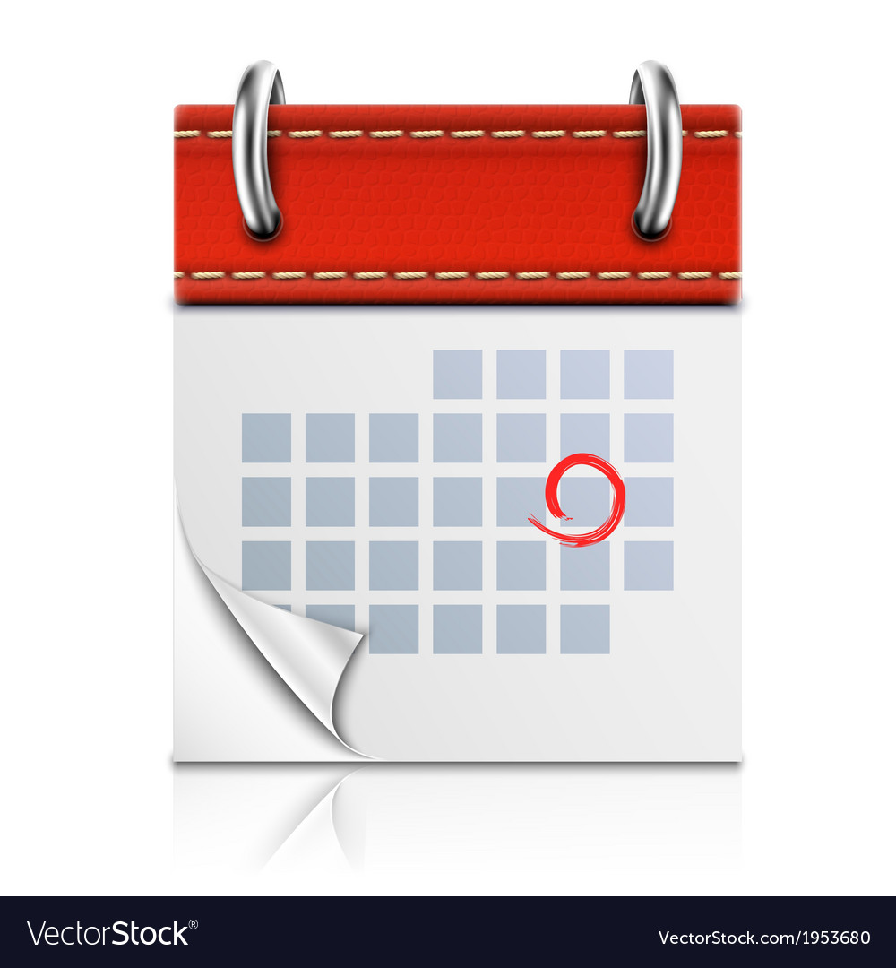 Realistic isolated red calendar icon vector | Price: 1 Credit (USD $1)