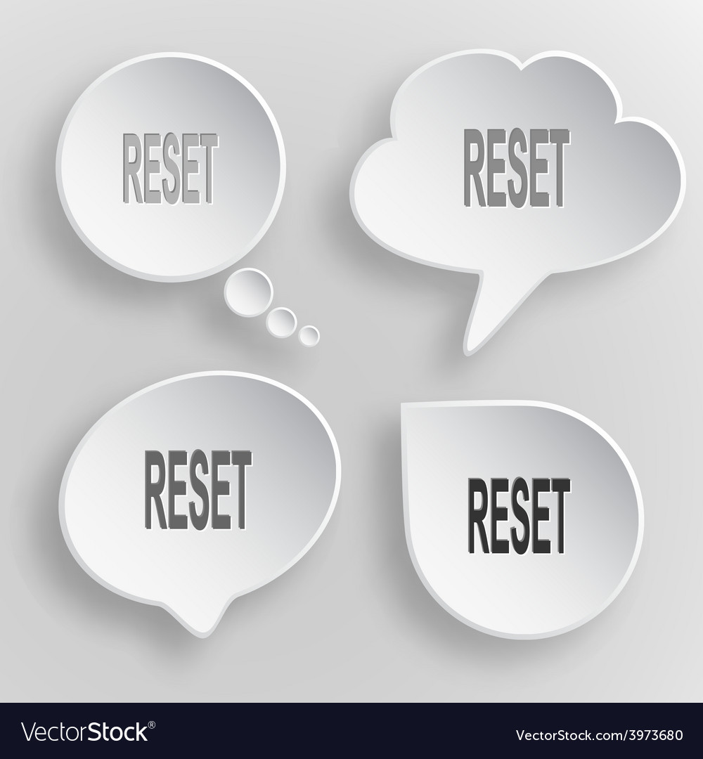 Reset white flat buttons on gray background vector | Price: 1 Credit (USD $1)