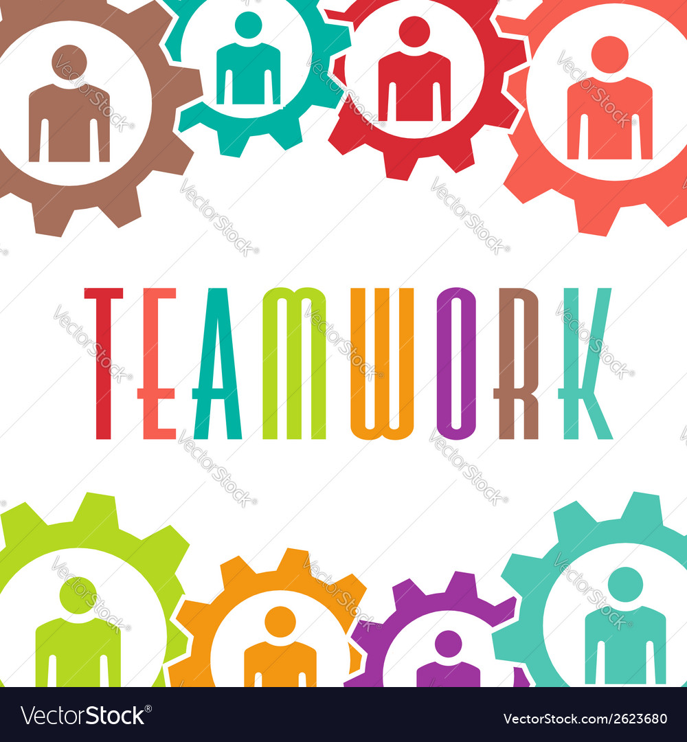 Teamwork gear people background vector | Price: 1 Credit (USD $1)