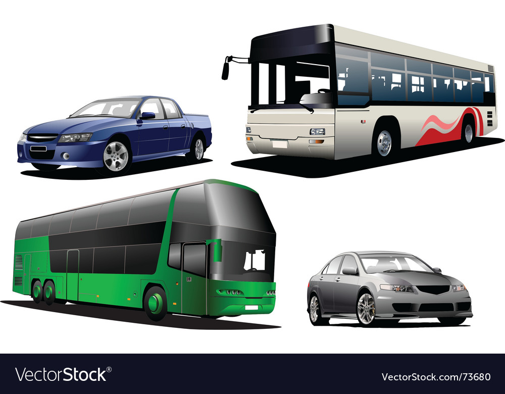 Two buses and two cars vector | Price: 1 Credit (USD $1)