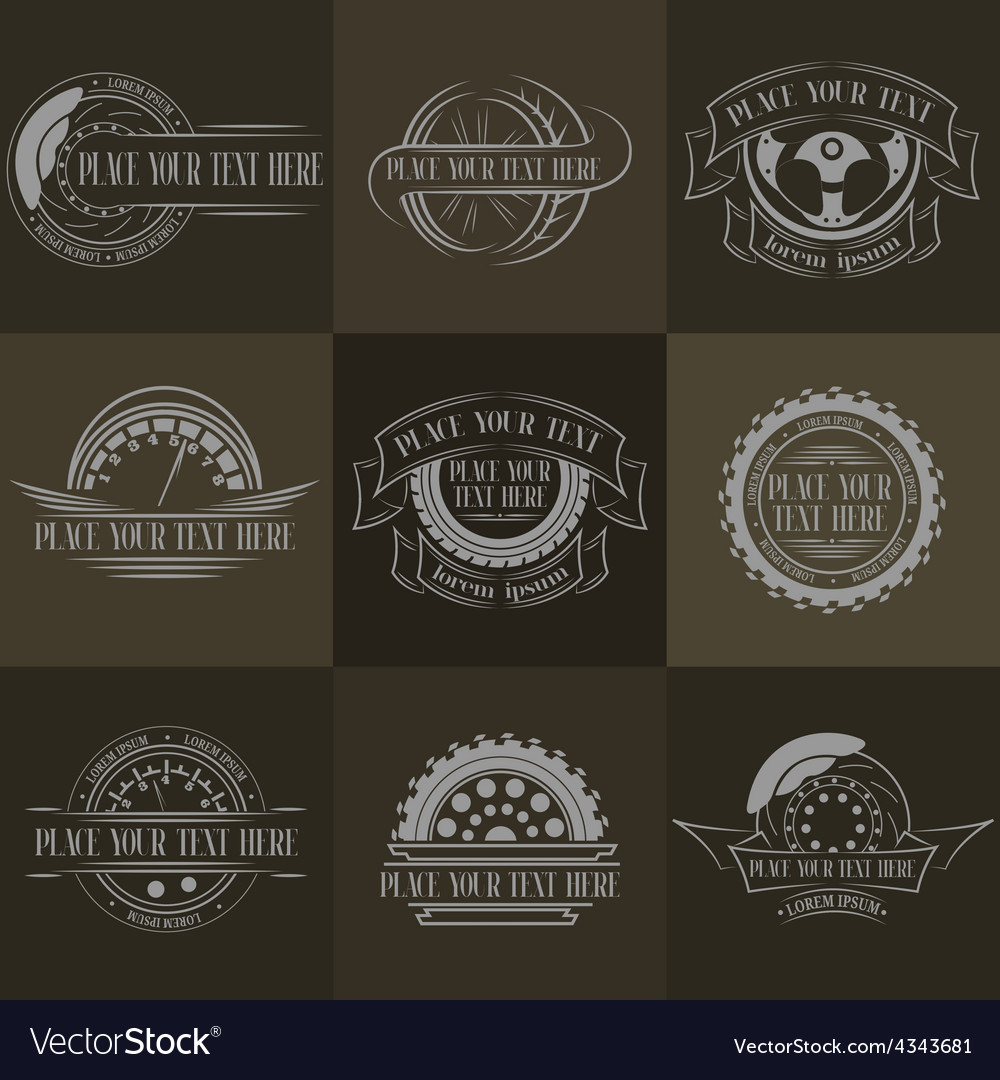 Auto badges with place for text vector | Price: 1 Credit (USD $1)