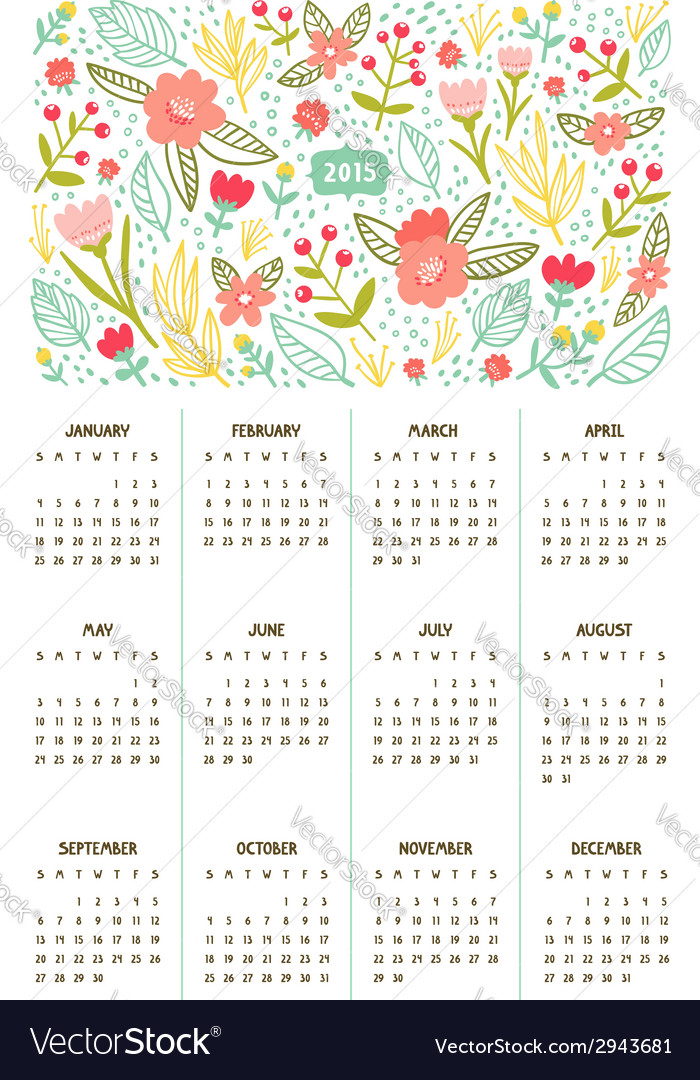 Beautiful floral calendar for year 2015 vector | Price: 1 Credit (USD $1)