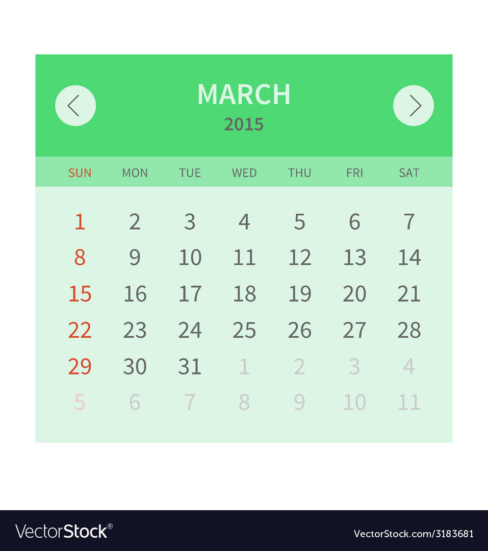 Calendar monthly march 2015 in flat design vector | Price: 1 Credit (USD $1)