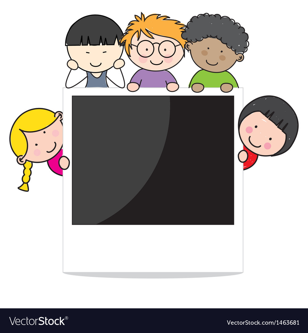 Children with photo frame vector | Price: 1 Credit (USD $1)