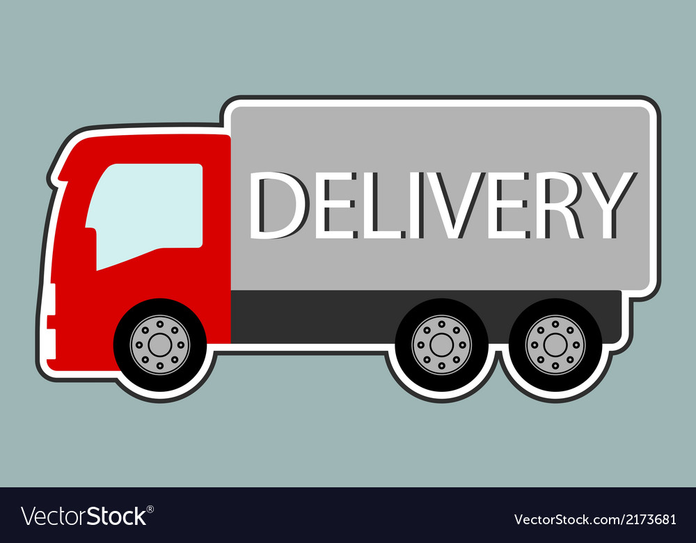 Delivery truck with red cabin vector | Price: 1 Credit (USD $1)