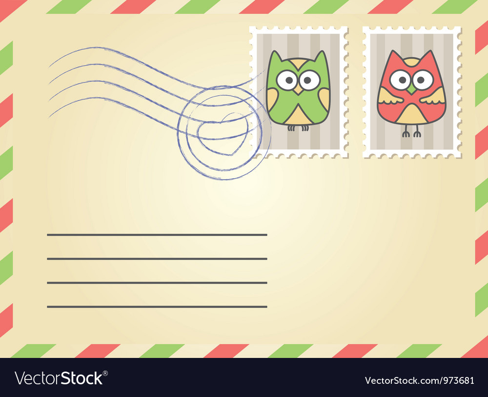 Envelope with postage stamps vector | Price: 1 Credit (USD $1)