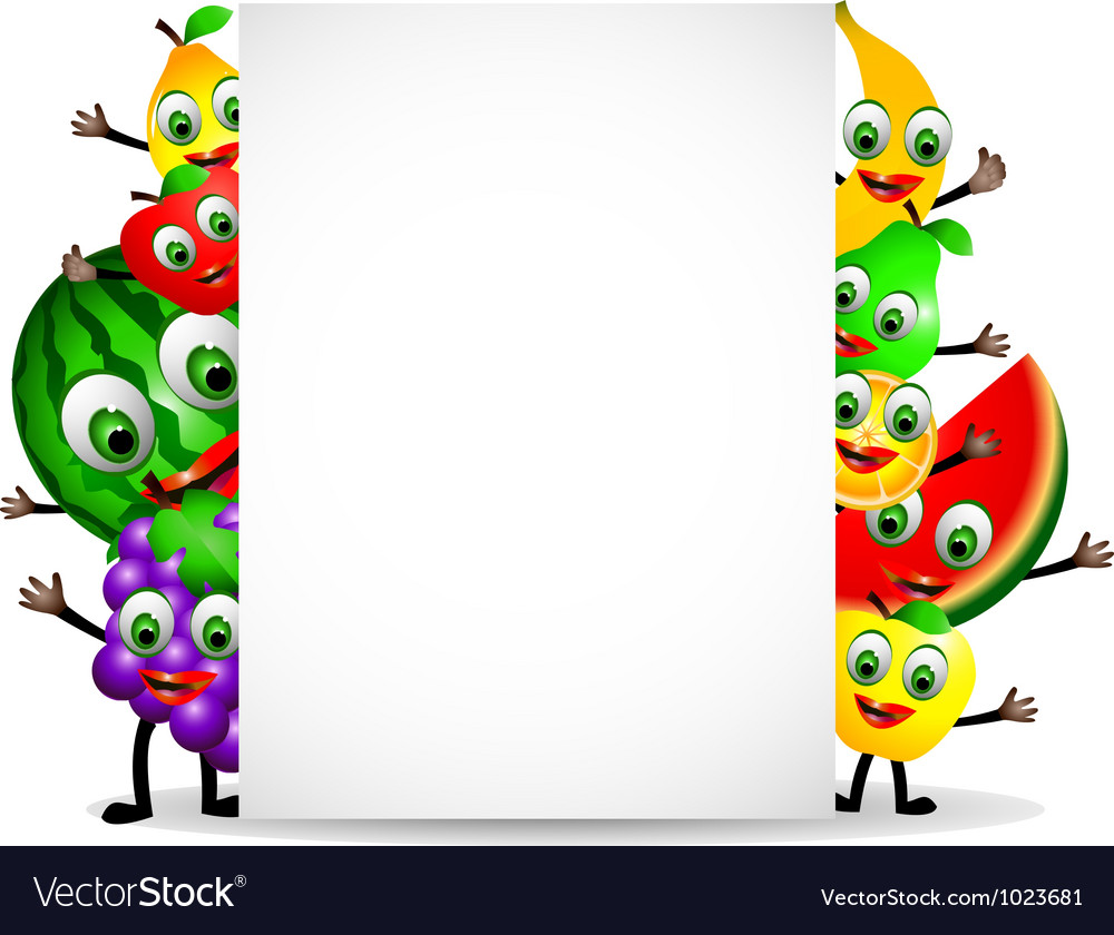 Funny fruits cartoon with blank sign vector | Price: 1 Credit (USD $1)