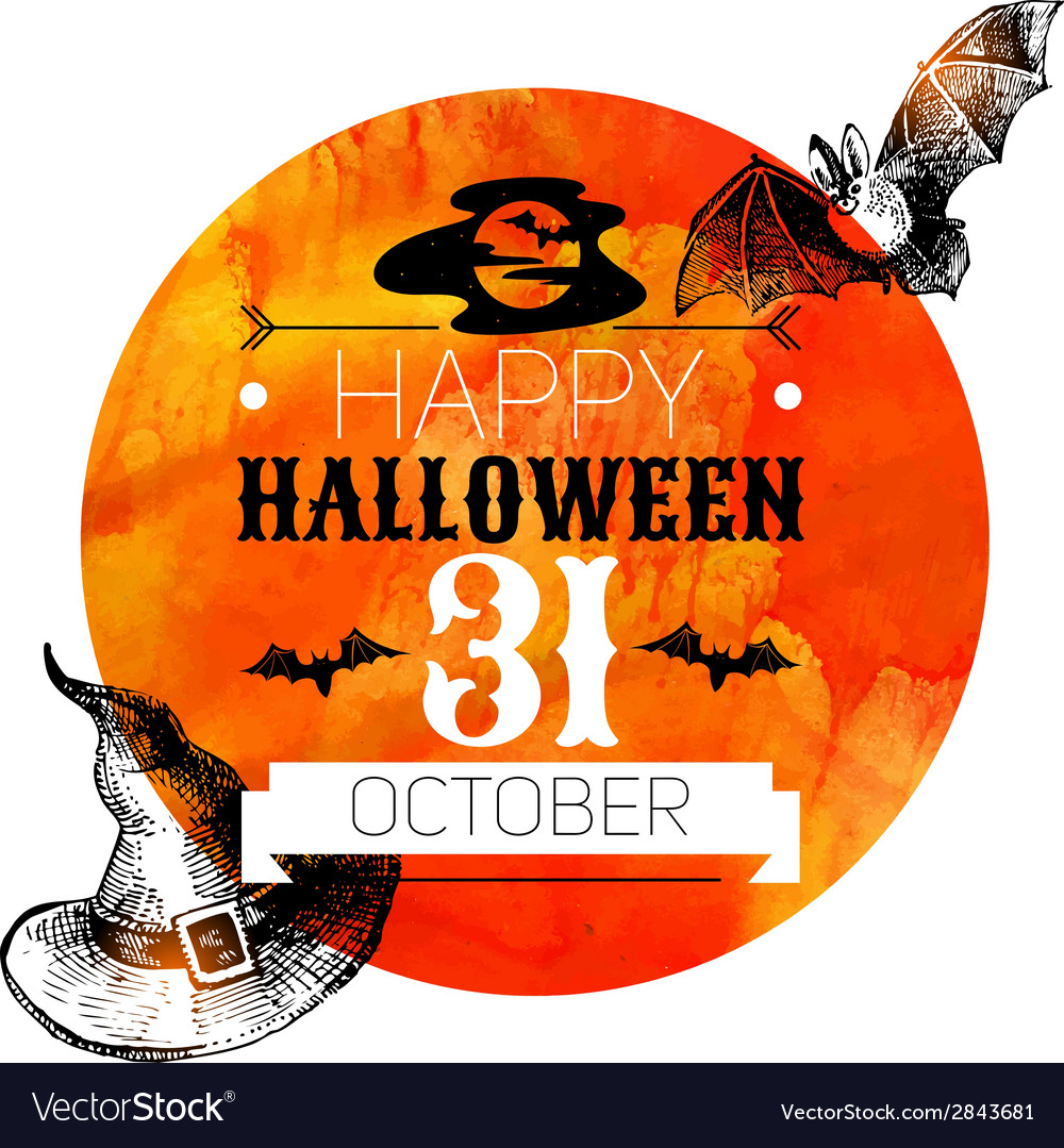 Halloween background typographic poster hand drawn vector | Price: 1 Credit (USD $1)