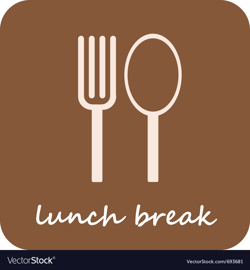 Lunch break - isolated icon on light-brown backgro vector | Price: 1 Credit (USD $1)