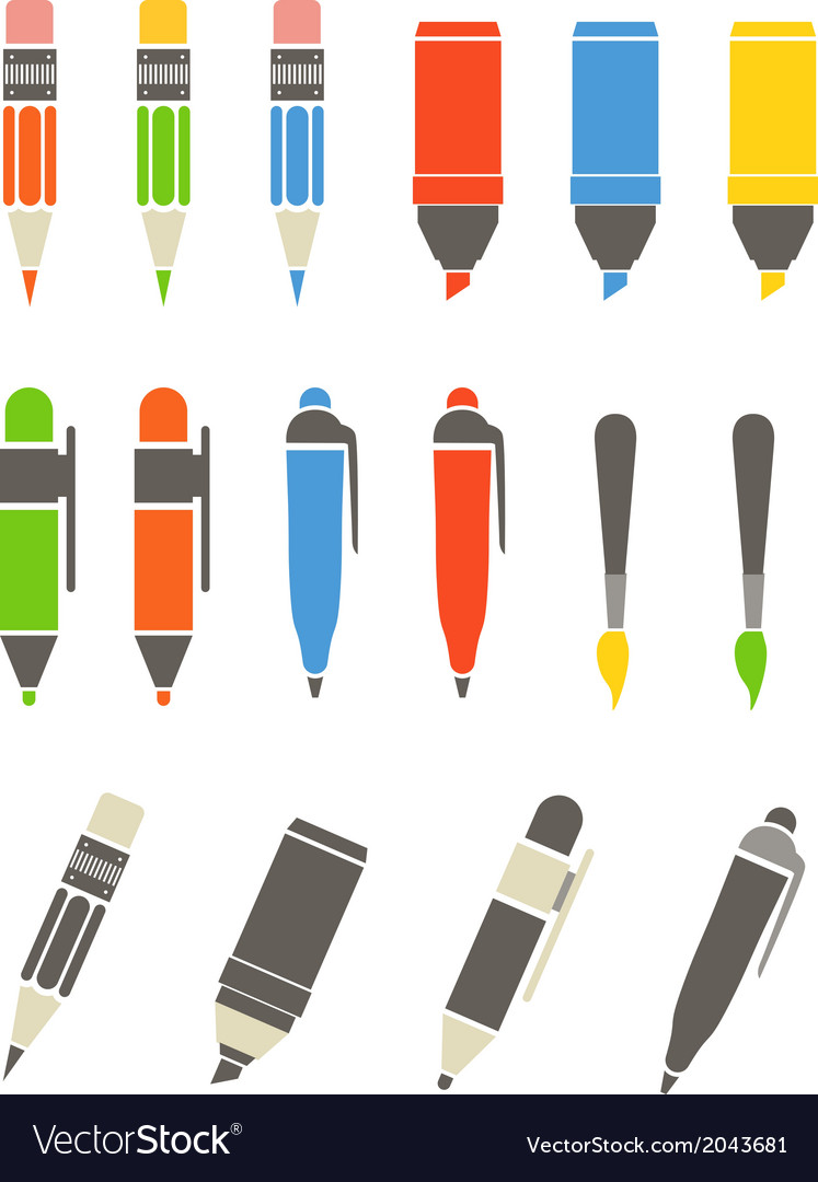 Paint and writing tools collection flat design vector | Price: 1 Credit (USD $1)