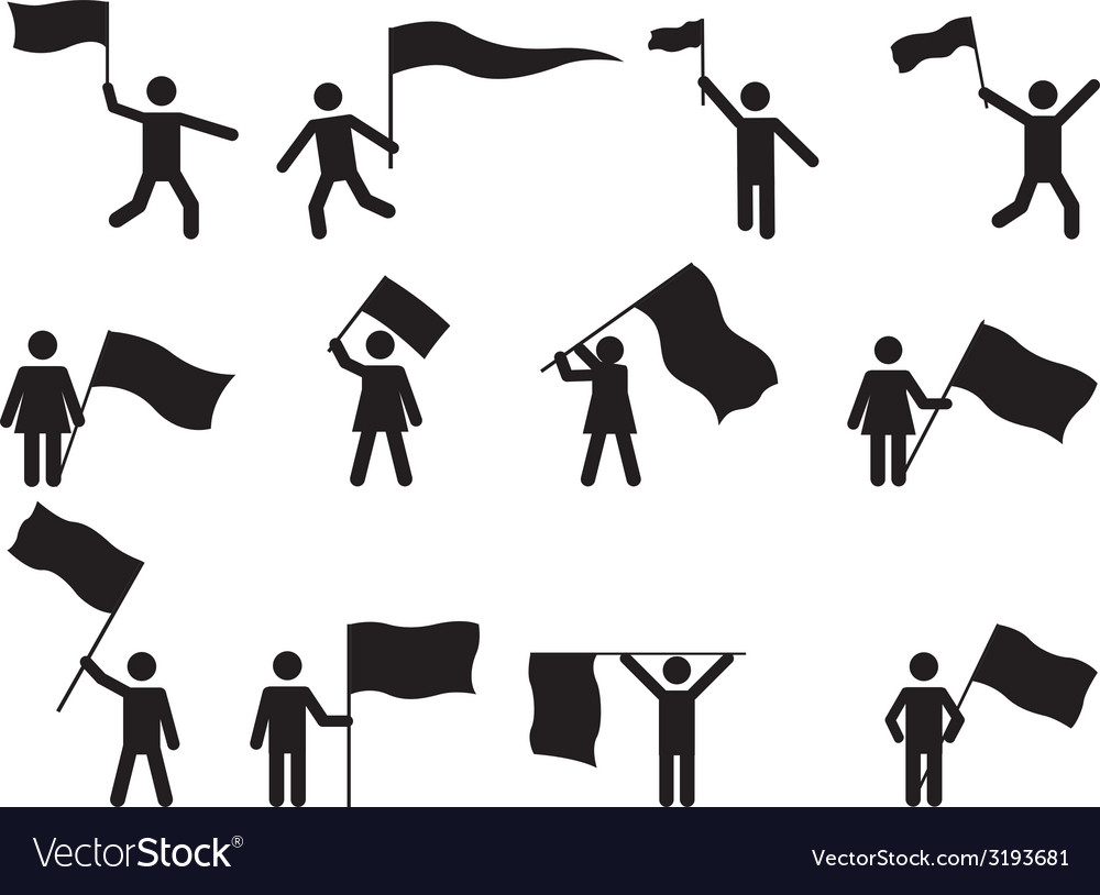 Pictogram people carrying flags vector | Price: 1 Credit (USD $1)