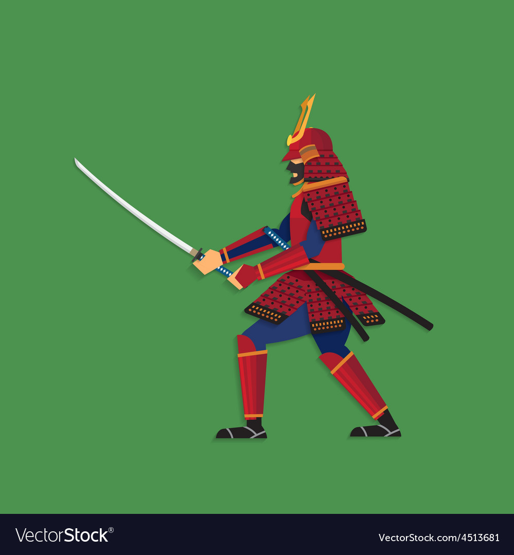Samurai warrior brandishing sword vector | Price: 3 Credit (USD $3)