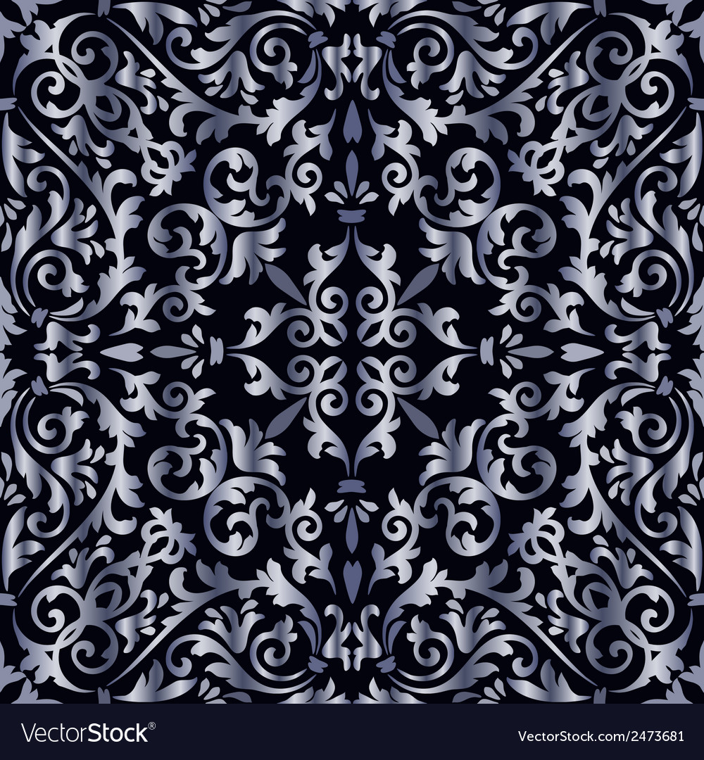 Silver baroque pattern vector | Price: 1 Credit (USD $1)