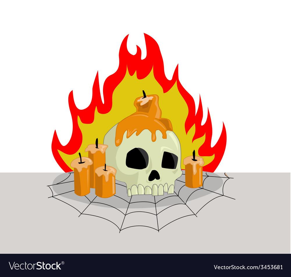 Skull head on fire vector