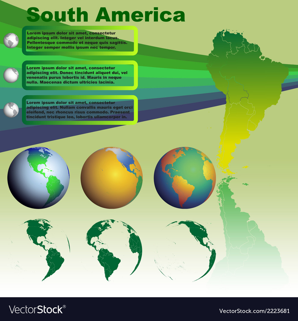 South america map on green background vector | Price: 1 Credit (USD $1)