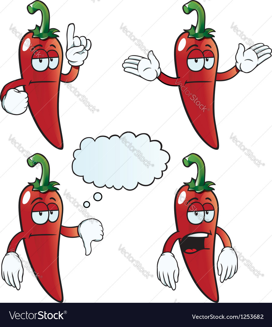 Bored chili pepper set vector | Price: 1 Credit (USD $1)