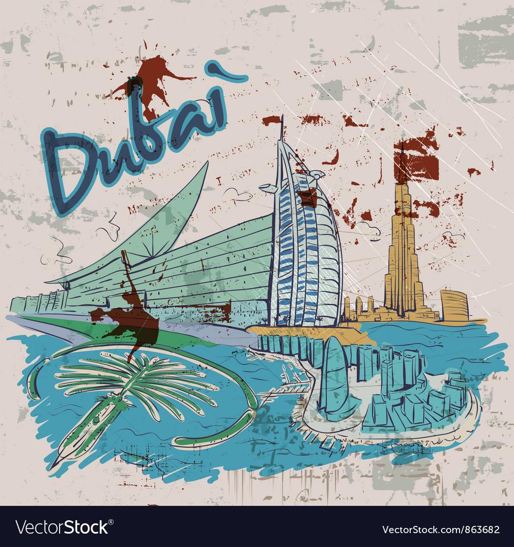 Dubai doodles vector   Price: 3 Credit (USD $3)