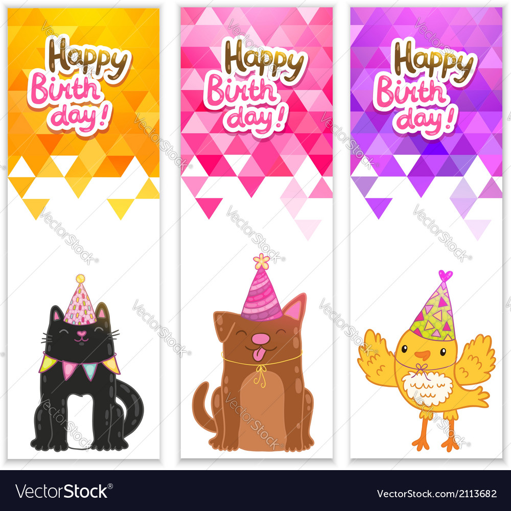 Happy birthday banners with cat dog bird vector | Price: 1 Credit (USD $1)