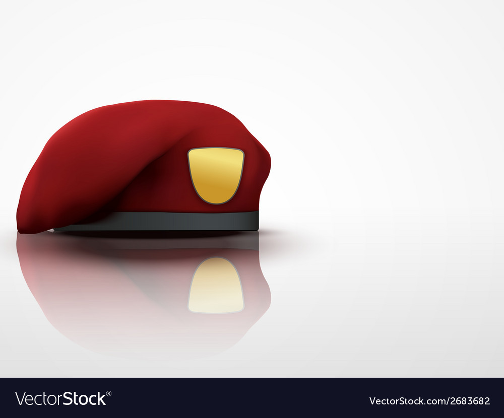 Light background maroon military red beret army vector | Price: 1 Credit (USD $1)