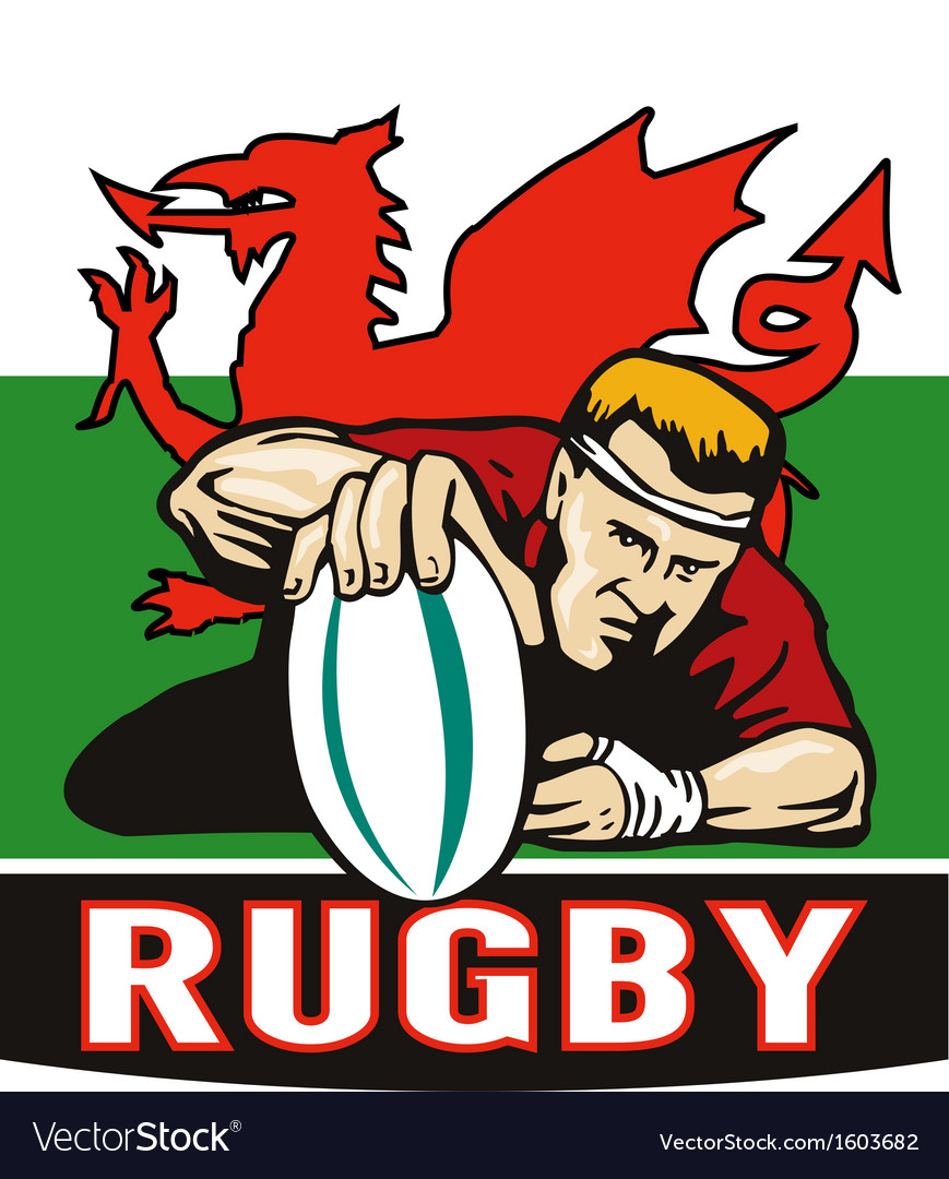 Rugby player scoring try wales flag vector | Price: 1 Credit (USD $1)